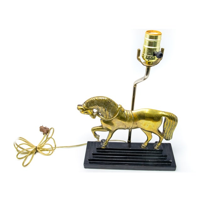 Vintage Mid Century Brass Horse Lamp For Sale - Image 4 of 12