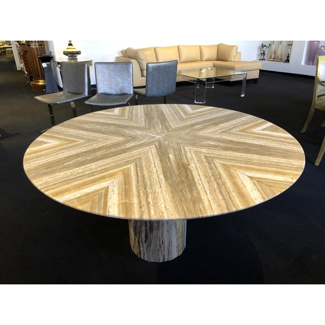 1980s Contemporary Italian Travertine Stone Table For Sale - Image 11 of 11