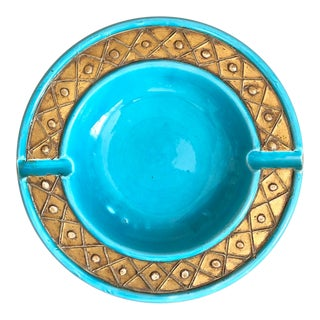 Mid Century Turquoise Gold Italian Pottery Ashtray For Sale