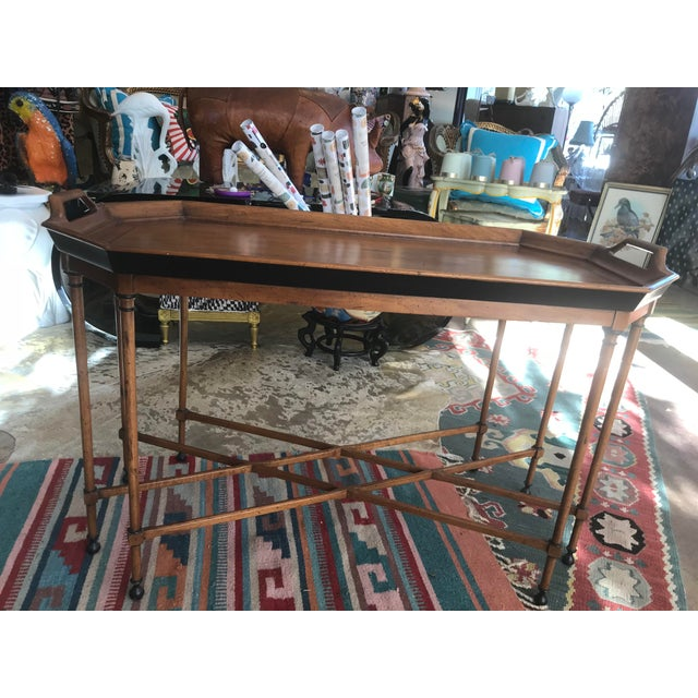 Tomlinson Walnut Mid-Century Tray Table For Sale - Image 5 of 9