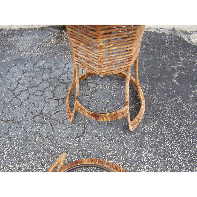 Vintage Woven Rattan Bar Stools / Counter Stools - a Pair For Sale - Image 11 of 12