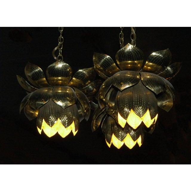 Hollywood Regency 1960s Feldman Lighting Co. Mid-Century Lotus Pendant Chandelier For Sale - Image 3 of 8