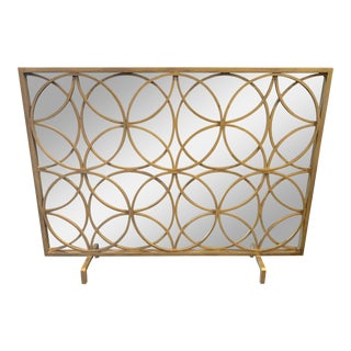 Modern Fire Place Screen in a Gilt Finish For Sale
