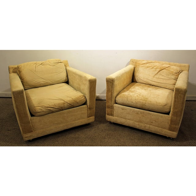 Pair of Mid-Century Modern Danish Modern Selig of Monroe Lounge Cube/Club Chairs - Image 2 of 11