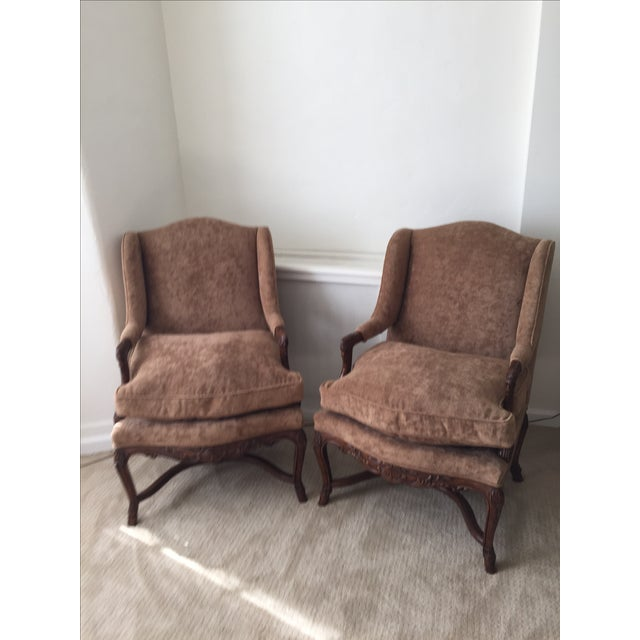 Provence Wing Chairs - A Pair - Image 2 of 4