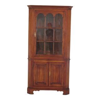 1980s Vintage Statton Centennial Cherry 1 Door Corner China Cabinet For Sale