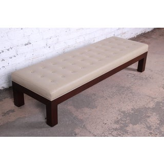 Michael Taylor for Baker Custom Long Bench in Mahogany and Leather Preview