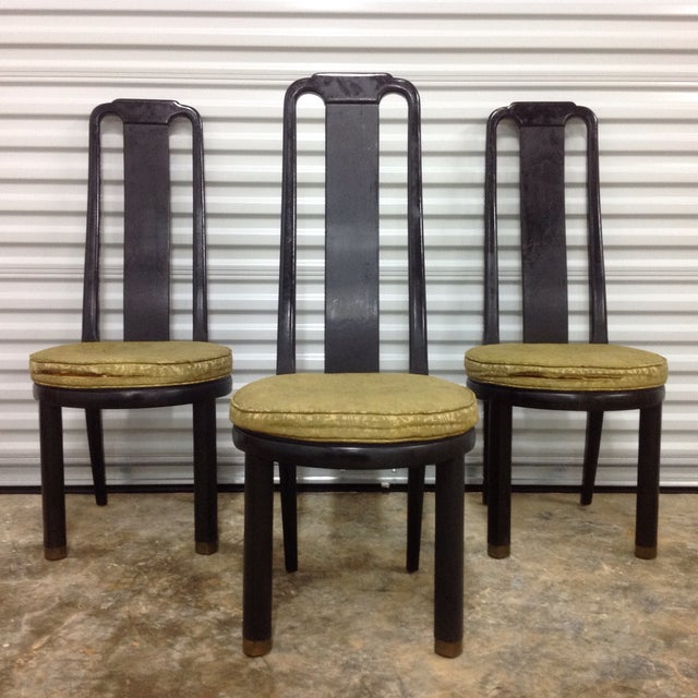 Asian Modern Black Lacquer Chair by Henredon - Image 2 of 9