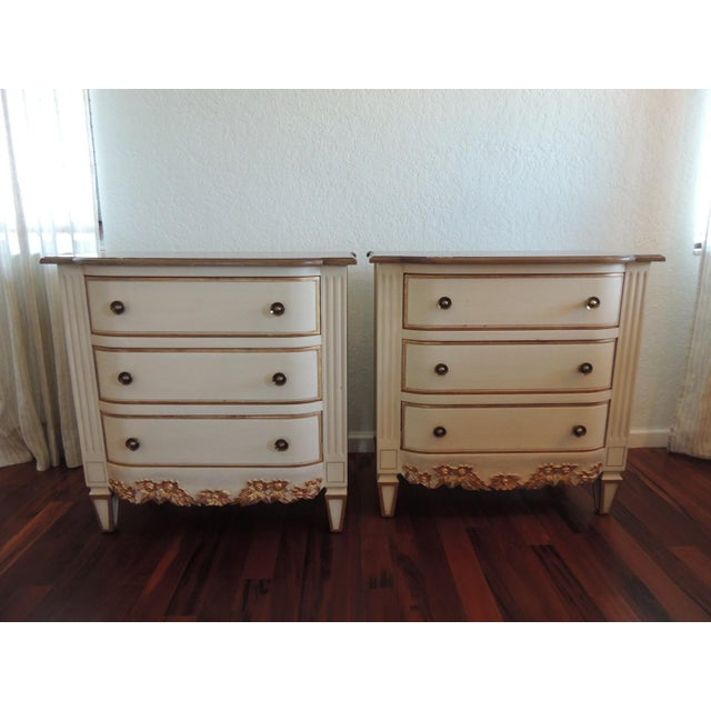 Pair of Neoclassical Style Natural and Gold Leaf Detail Nightstands For Sale - Image 10 of 10