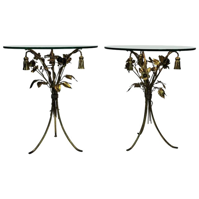 BEAUTIFUL PAIR OF ITALIAN GILT METAL FLOWER AND TASSEL FORM TABLES For Sale