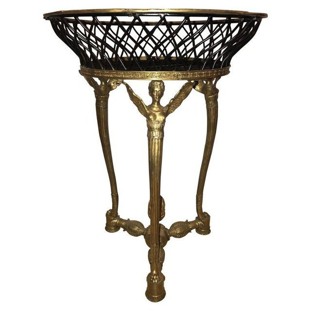19th-20th Early Empire Bronze Basket or Jardinière on Figural Gilt Bronze Stand For Sale - Image 13 of 13