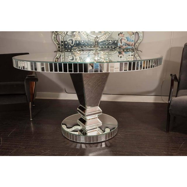 2010s Custom Round Mirrored Dining Table For Sale - Image 5 of 8