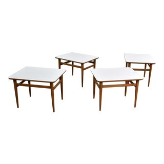 Set of 4 Mid Century Modern Birch Side Tables With White Laminate Tops & Tapered Legs For Sale
