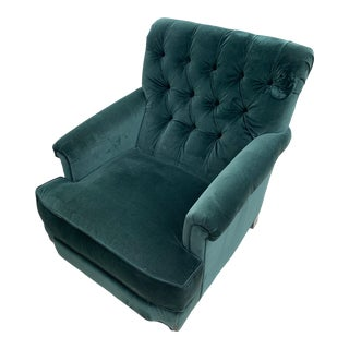 Forest Green Velvet Club Chair Arm Chair For Sale