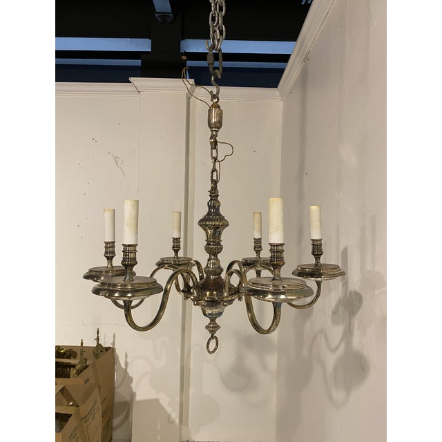 Silver 1920's Caldwell Six Light Silver Plated Chandelier For Sale - Image 8 of 9