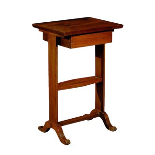 French 1890s Directoire Side Table with Diamond-Shaped Shelf and Single Drawer