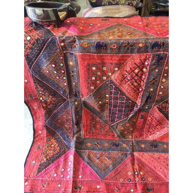 Mogul Indian Tapestry Red Banjara Vintage Bohemian Wall Hanging Throw For Sale - Image 4 of 5