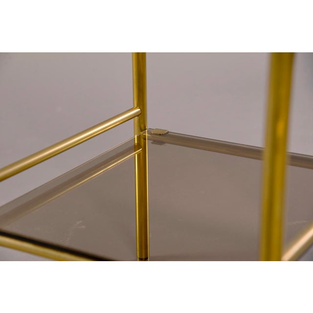 Gold Pair of Mid-Century Brass and Glass Side Tables For Sale - Image 8 of 10