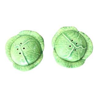 Vintage Majolica Cabbage Salt Pepper Shakers Set - a Pair For Sale