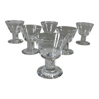 Mid-Century Modern Steuben Air Twist Cocktail Crystal Glasses by George Thompson - Set of 6 For Sale