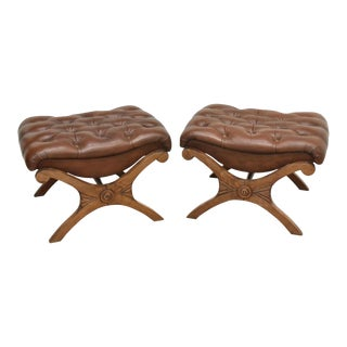 Vintage English Carved Walnut Curule X-Frame Tabouret Bench Stools - a Pair For Sale