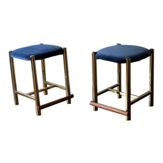 1970s Vintage Hollywood Regency Brass Stools- A Pair For Sale