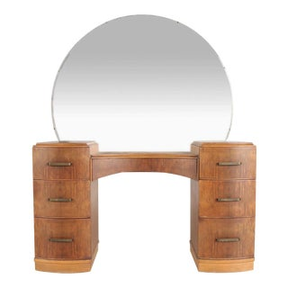 Art Deco Burlwood Vanity With Mirror For Sale