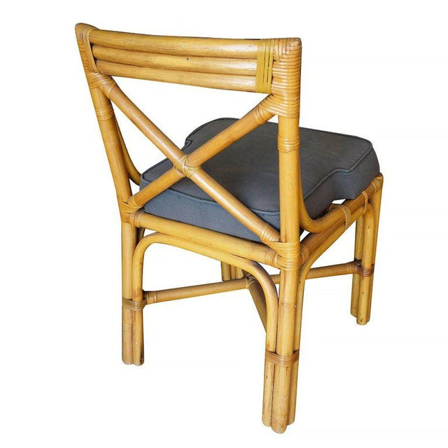 1950s Restored Mid-Century Era Rattan Dining Side Chairs With X-Back- Set of 4 For Sale - Image 5 of 5