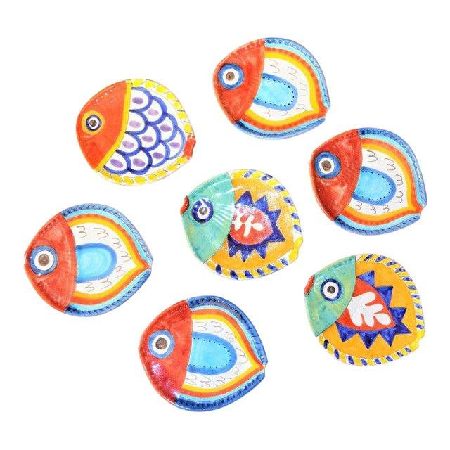 1980s Boho Chic DeSimone Terra Cotta Fish Plate For Sale