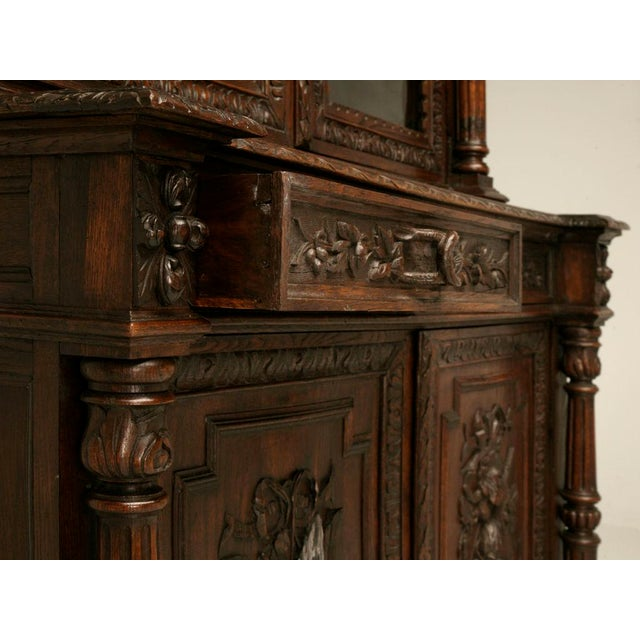 Exquisite Antique French Heavily Carved Oak Hunt Cabinet