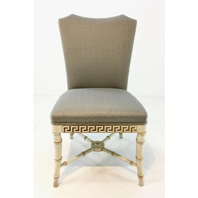 Unique and beautiful Century Furniture Greek Key Carved Dining Chairs Set of Four, bamboo cream wood legs and streacher,...