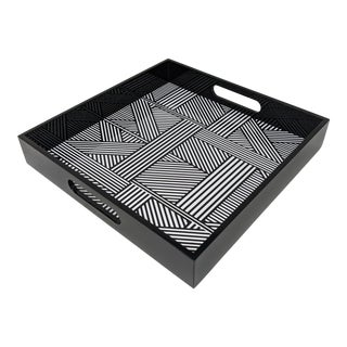 """Regency Black and White 12"""" Square Lacquered Decorative Tray For Sale"""