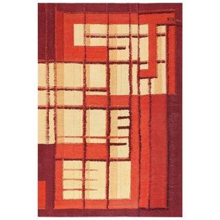 Vintage Swedish Scandinavian Geometric Flat-Woven With Raised Pile Rug - 6′9″ × 9′10″ For Sale