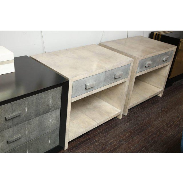 Pair of Parchment Nightstands For Sale - Image 9 of 10