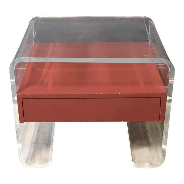 Lucite Side Table With Drawer For Sale