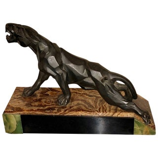 Notari Art Deco French Cubist Panther Sculpture For Sale