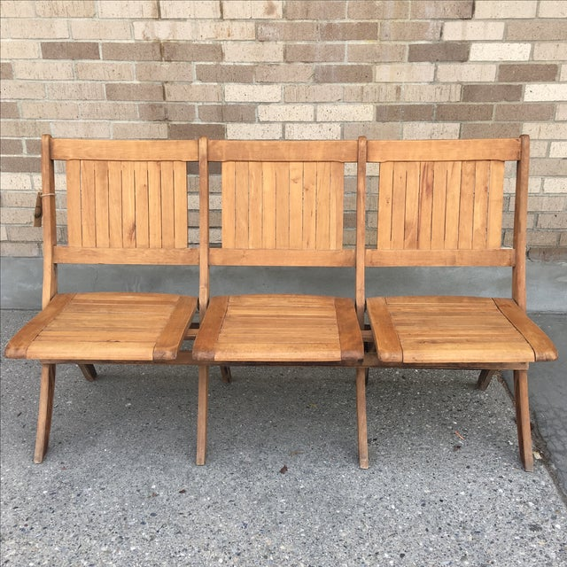 Vintage Tandem Folding Chair, Haywood Wakefield Folding Bench Stadium Seat. Early 1900s, slatted wood folding bench...