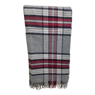 Wool Throw Red Black Gray WHite Plaid - Made in England For Sale