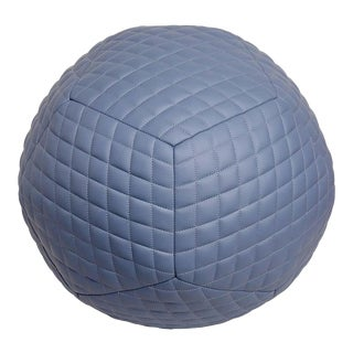 Diamond Ottoman in Slate Blue Leather by Moses Nadel For Sale