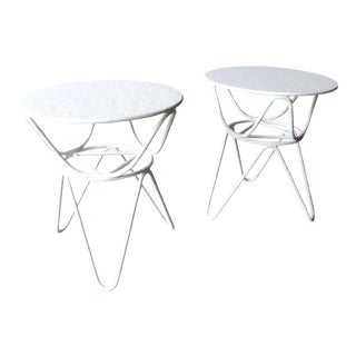 Mid-Century Modern Mr. Brown of London White Picasso End Tables - a Pair For Sale