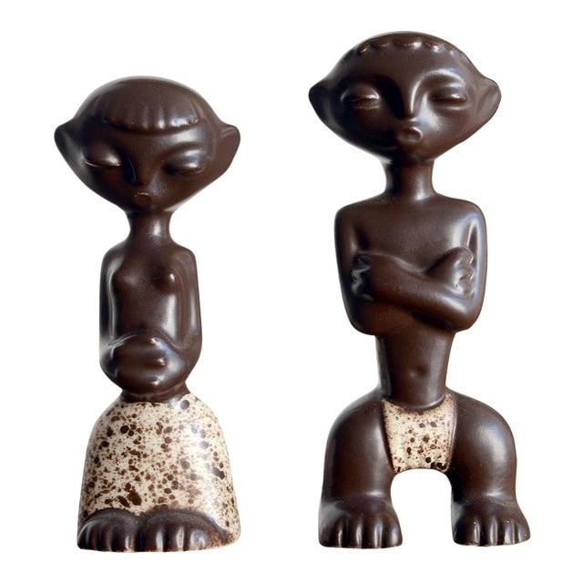 1950s Mid Century Howard Pierce Ceramic Tribal Couple Figurines - a Pair For Sale