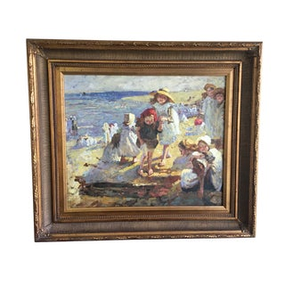 """Children at the Beach"" Painting For Sale"