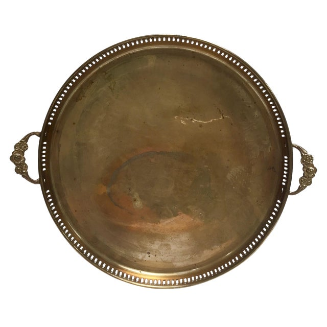 Round Vintage Brass Tray With Floral Handles - Image 1 of 8