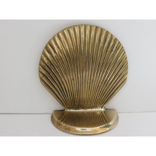 Vintage Brass Seashell Bookends - A Pair - Image 6 of 7