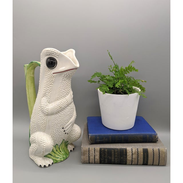 Whimsical and charming hobnail frog made in the style of Jean Roger. Could be used as a vase. Perfect for adding character...