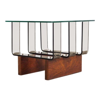 Mid Century Lucite, Glass & Walnut Side Table