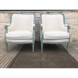 Late 20th Century Vintage Bergere Arm Chairs- A Pair Preview