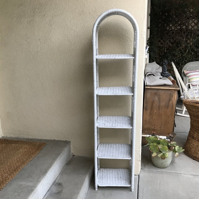 White Classic White Wicker Shelf Etagere or Plant Stand For Sale - Image 8 of 10