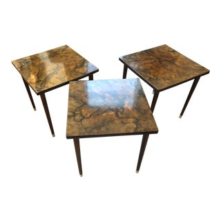 Mid-Century Faux Marble and Wood Nesting Stack Tables - Set of 3 For Sale