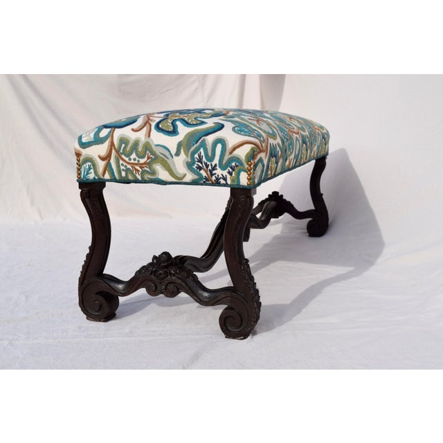 Mid 19th Century Antique American Empire Upholstered Scroll Form Bench For Sale In Philadelphia - Image 6 of 12